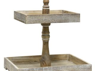 StyleCraft Rectangular Two Tiered Distressed Wood Tray