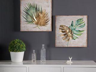Set of 2 leaf Wall Plaque 16x16