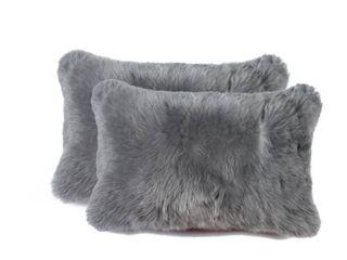 New Zealand Sheepskin Pillow 12x20 2 Pack   Grey Retail 79 98