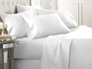 luxury Home Super Soft 1600 Series Double Brushed 6 Pcs Bed Sheets Set  Full  White