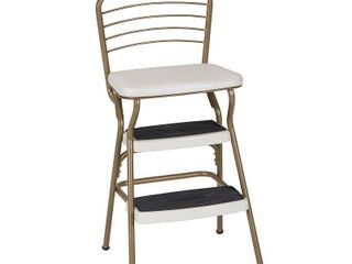 COSCO Stylaire Retro Chair   Step Stool with flip up seat  Gold