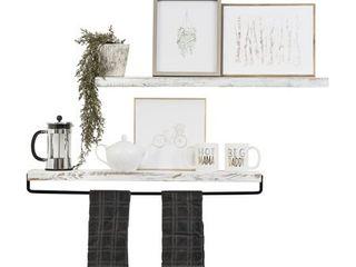 Del Hutson Designs True Floating Shelf and Towel Rack White