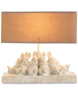 Resin Bunny Table lamp with Rectangle Sand Color linen Shade
