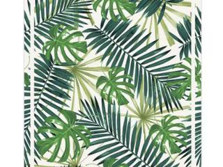 Vinyl Floor Mat Tropical leaf Pattern   2  x 3    2  x 3