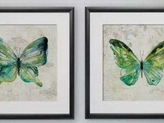 Wexford Home  Sketchbook Butterfly  Framed 2 piece Wall Art Set