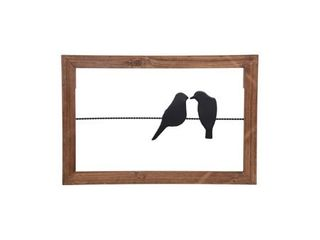 Foreside Home   Garden 18 x 12 inch Rustic Birds On A Wire Wood And Metal Wall Decor