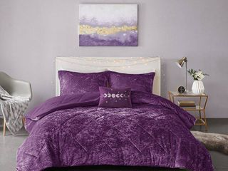 Full Queen Alyssa Velvet Comforter Set Purple
