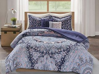 5pc Full Queen Willow Boho Comforter Set Blue
