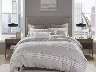 Full Queen lennon Organic Cotton Jacquard Comforter Set Taupe