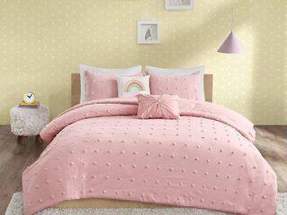 Queen Kelsey Cotton Jacquard Pom Pom Comforter Set Pink