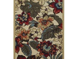 Rubber Back Ivory Multicolor Floral Garden Non Skid Area Rug  3 3 x 5    3 3 X 5