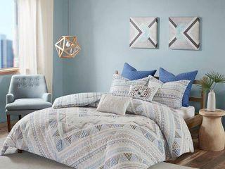 Urban Habitat Roxanne Blue 7 Piece Cotton Reversible Duvet Cover Set   Comforter Insert Not Included