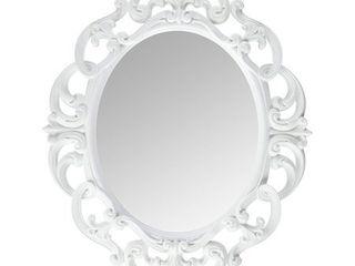White Oval Vintage Wall Mirror   Multi   Medium