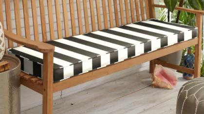 Sunbrella Black White Stripe Indoor Outdoor Bench Cushion