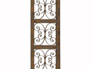 Wood and Metal Scroll Design Rustic Wall Panel  Brown