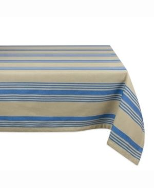 Design Imports Warm Stripe Kitchen Tablecloth  84 Inch Wide x 60 Inch long
