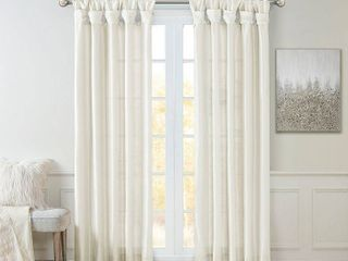 84 x50  lillian Twisted Tab lined light Filtering Curtain Panel White Set of 2