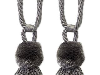Pom Pom Braided Tassel Tieback Set of 2  Assorted Colors    6 inches