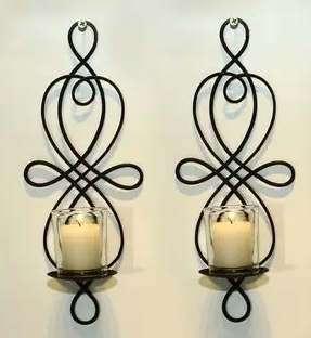 Adeco Brown Iron Vertical Wall Hanging Candle Holder Sconce  Set of 2