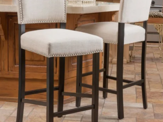 Set of 2 Mayfield contemporary Beige linen Barstool