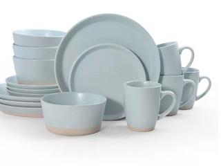 16Pc Hudson Blue Dishwasher Safe Set