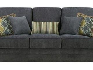 Colton Traditional Sofa with Roller Arm  Nail Head Accent Trim  Exposed Wood Accent legs  Sinuous Spring Base and Plush Upholstered in Smokey Grey