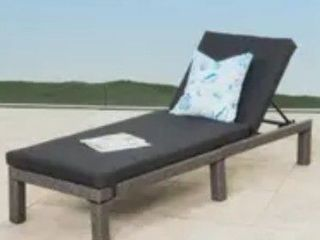 Puerta Outdoor Adjustable Wicker Chaise lounge with Cushion by Christopher Knight Home Black and Gray