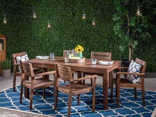 Magnolia Outdoor Rustic Acacia Wood Outdoor Dining Table Christopher Knight Home