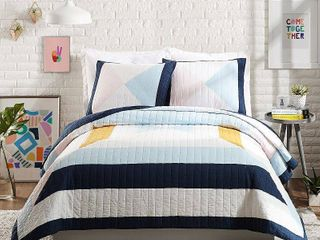 Ampersand for Makers Collective King 3pc Diamond Patchwork Quilt   Sham Set Blue