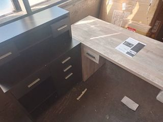 Offex Dark Taupe Reclaimed look l Shaped Home Office Desk