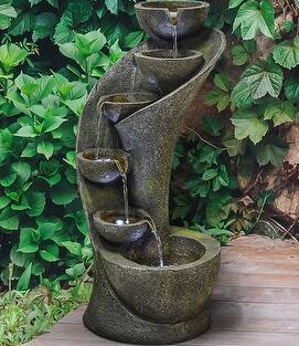 23 6in Garden Fountain Outdoor Fountains and Waterfalls Curved Design  Retail 127 49