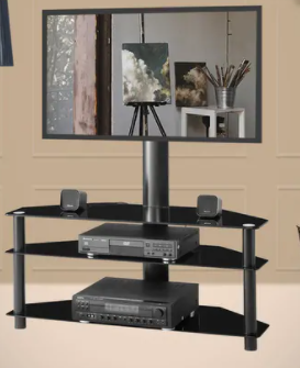 Swivel Floor TV Stand with Mount Height Adjustable Universal 3 Tier TV Standfor 32 65 Inch  lCD lED Flat or Curved Screen TV  Retail 163 49