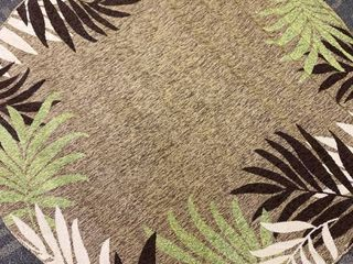Great American Distributors IOFN 01 BR 7R 7 ft  Island Breeze Foliar Floral   Botanical Rug  Brown   Green
