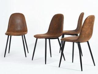 FurnitureR Charlton Brown With Wood Surface Metal legs Dining Chair  Charlton Set of 4