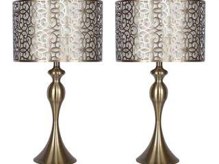 27  Metal Table lamp w  Sleek Curvy Body   Metal Cut Out Shades  Set of 2  Retail 113 49