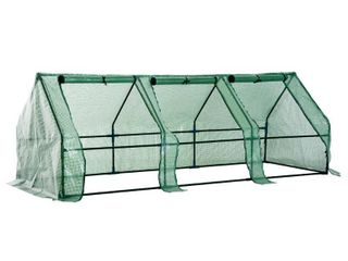 Outsunny 9  l x 3  W x 3  H Outdoor Portable Flower Plant Garden Greenhouse Kit