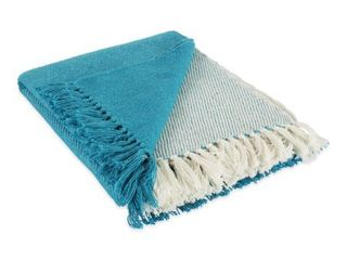 DII Four Square Woven Throw  50x60  with 3  Fringe  Black  1 Piece