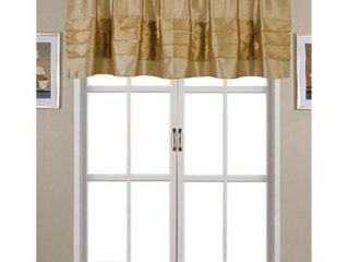 Nancy Faux Silk 54 x 18 in  Pleated Rod Pocket Valance  Gold Set of 2