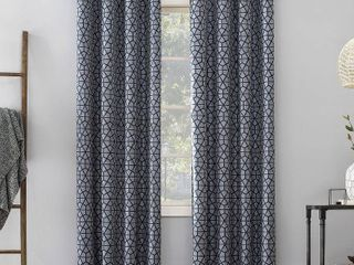 84 x52  Burke Twill Mosaic Extreme Total Blackout Grommet Top Curtain Panel Navy Denim Blue   Sun Zero Set of 2