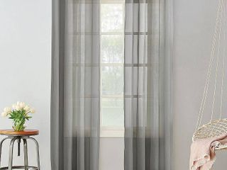 84 x59  Emily Sheer Voile Grommet Top Curtain Panel Dark Gray   No  918 Set of 2