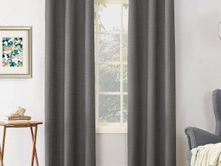 Sun Zero Cooper Textured Thermal lined Room Darkening Energy Efficient Grommet Curtain Panel Set of 2