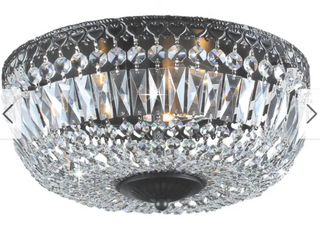 Silver Orchid Taylor Antique Black Crystal Flush Mount Chandelier  Retail 76 48