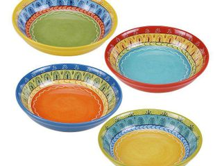 Certified International Valencia 9 25 inch Soup Pasta Bowls  Set of 4  Assorted Designs
