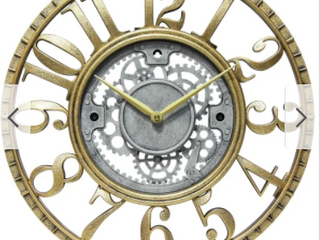 Roman Gear 15 inch Decorative Round Wall Clock   Gold   Silver