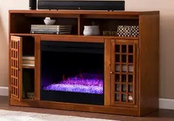Copper Grove Nylah Brown Alexa Enabled Media Fireplace  Fireplace Insert Only