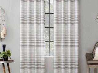 96 x52  Delta Tonal Stripe Cotton Semi Sheer Grommet Curtain Panel Gray   Scott living Set of 2