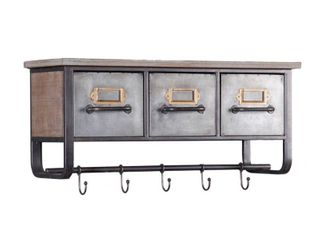 Metal and Wood Wall Cubby Organizer  Retail 89 49