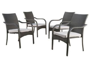 San Pico Outdoor Wicker Stacking Chairs  Set of 2  by Christopher Knight Home