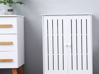 Bathroom Floor Cabinet  Free Standing Side Cabinet Storage Organizer with Double Doorsn