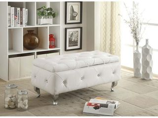 Upholstered Tufted Storage Bench  Retail 153 49